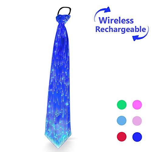 7 Glow Colors LED Light up Neck Tie, USB Rechargeable Wireless Flashing Necktie, Pre Tied with Adjustable Strap, Optical Fiber Luminous Novelty Costume Accessory for Festival Rave Party