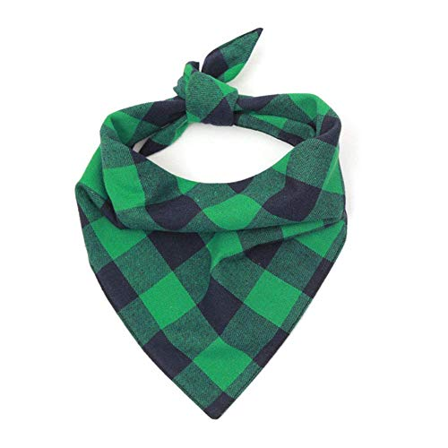 WORDERFUL Dog Bandana Bibs Pet Plaid Scarf Triangle Head Scarfs Accessories Neckerchief for Small and Medium Dog (Green, M)