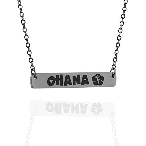 OHANA with Flower - Engraved Stainless Steel Horizontal Bar Necklace, 18