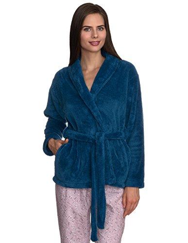 TowelSelections Women's Bed Jacket Fleece Cardigan Cuddly Robe Small/Medium Deep Water