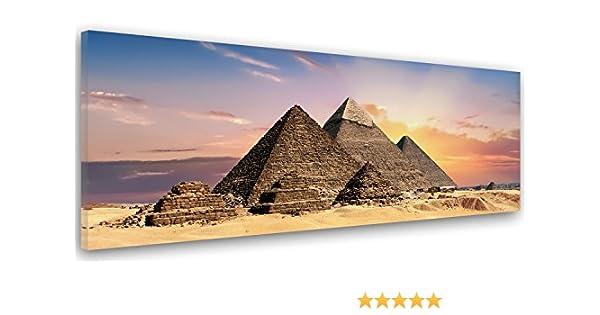 Feeby. Cuadro en lienzo, Imagen impresión, Pintura decoración, Canvas de una pieza, 100x40 cm, PIRÁMIDES, EGIPTO, NATURALEZA, MARRÓN: Amazon.es: Hogar