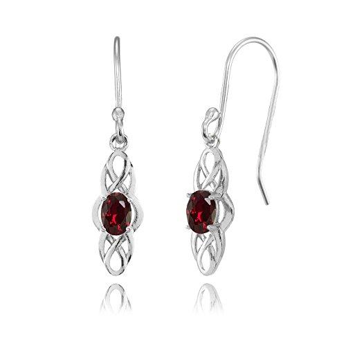 Ruby Celtic - Sterling Silver Created Ruby Celtic Knot Oval Dangle Drop Earrings