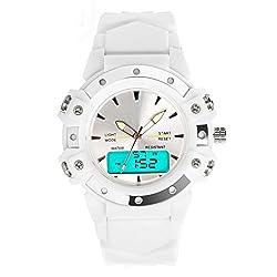 TOPCABIN Women Men Analog Digital LED Sport Dual Time Back Light Alarm Rubber Wrist Watch-White