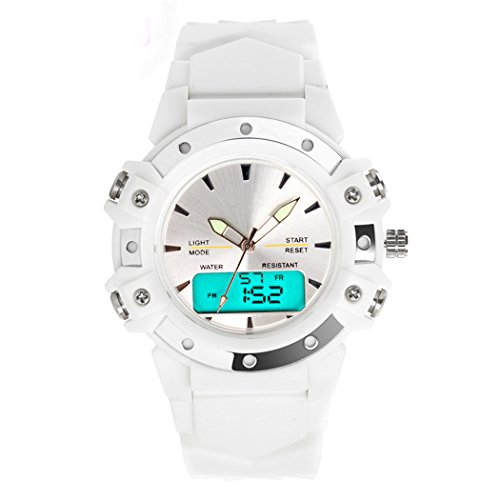 nalog Digital LED Sport Dual Time Back Light Alarm Rubber Wrist Watch-White ()