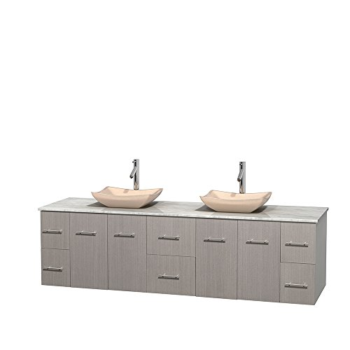UPC 700161132243, Wyndham Collection Centra 80 inch Double Bathroom Vanity in Grey Oak, White Carrera Marble Countertop, Avalon Ivory Marble Sinks, and No Mirror
