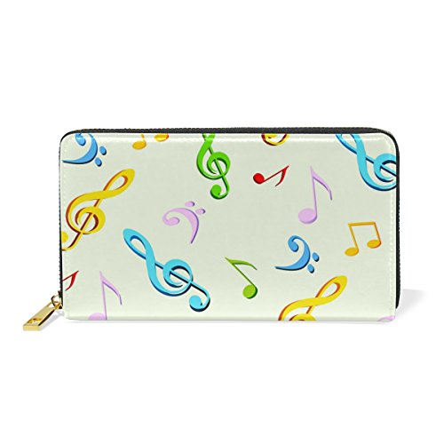 Handbags TIZORAX Music Leather Zip Purses Notes And Clutch Around Wallet Organizer Womens 1fUZfTnW