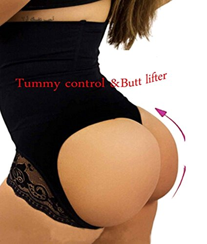 boy shorts underwear for women cotton butt enhancer panties with tummy control hip butt (XL, Black)