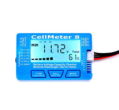 RC CellMeter 8 Digital Battery Capacity Checker Balance Discharger Servo Tester LCD Backlight for LiPo LiFe Li-ion NiMH Nicd