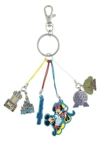 Disney Parks Keychain - WDW Four Parks Icon Dangle - Mickey and Minnie