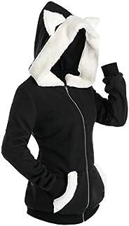 Aniywn Womens Gothic Hoodie Punk Cardigan Jacket Cat Ear Long Sleeve Zip Up Pullover Sweatshirt Coats
