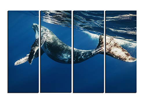 4 Piece Frameless Swimming Whale In Blue Sea Canvas Print Animal Pictures Wall Art Oil Painting for Living Room Decoration