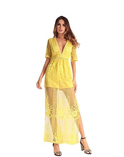 Vestito floreale da laccio LLS Partito Abito Eleganti a Lungo V Vestito Cocktail Vestito Donna Con Casuale Vintage yellow Vintage Donna Slim Pizzo e collo wwXq4Y