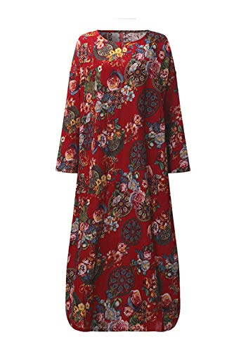 Grande Taille Red Changement Lin Coton De Et des Robe Vintage Robes Baggy YB710x