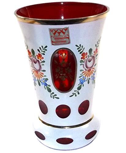 Anticuria Vintage Bohemian Kristallglas Exclusiv Cased Ruby Glass Vase w/Hand Painted Decoration