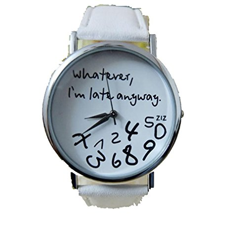 Women Leather Watch Whatever I am Late Anyway Letter Watches White - 3