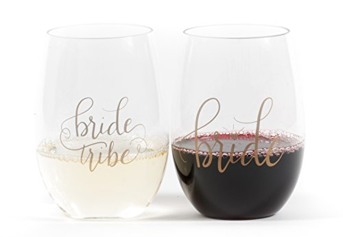 Bride Tribe Durable Plastic Stemless Wine Glasses for Bachelorette Parties, Weddings and Bridal Showers (8 PIECES) by Samantha Margaret (Image #5)
