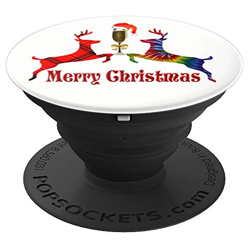 Merry Christmas Plaid Tie Dye Reindeer Wine Glass Santa Gift PopSockets Grip and Stand for Phones and Tablets (Wine Dye Tie Glasses)
