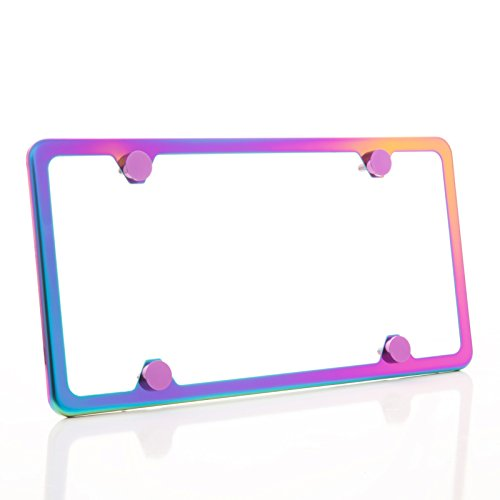 One Polish Mirror Neo Chrome T304 Stainless Steel Four Hole Slim License Plate Frame Holder Front Or Rear Bracket with Metal Screw Cap ()