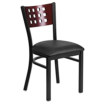 Flash Furniture HERCULES Series Black Cutout Back Metal Restaurant Chair - Vinyl Seat - HERCULES Series Black Decorative Cutout Back Metal Restaurant Chair - Mahogany Wood Back, Burgundy Vinyl Seat Heavy Duty Metal Restaurant Chair Mahogany Wood Cutout Style Back - kitchen-dining-room-furniture, kitchen-dining-room, kitchen-dining-room-chairs - 417CerE41BL. SS400  -