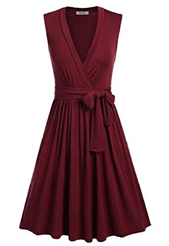 Coolred-femmes Plissé Décontracté Grand Ourlet Rétro Solide Rouge Robe Taille Ceinturée