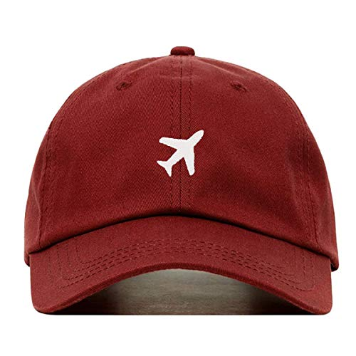 (Airplane Baseball Hat, Embroidered Dad Cap, Unstructured Soft Cotton, Adjustable Strap Back (Multiple Colors) (Burgundy))