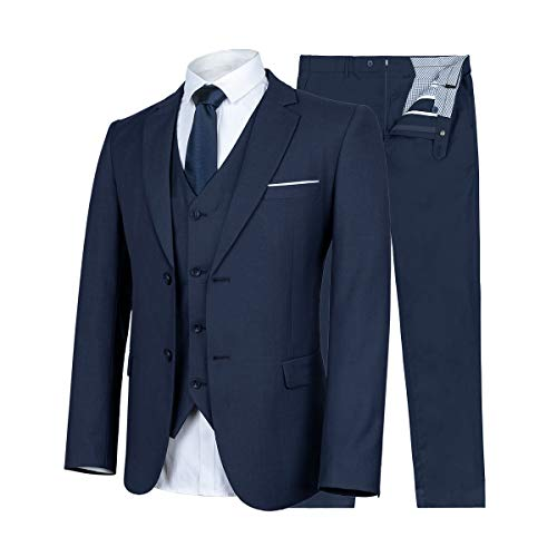 WULFUL Men's Suit Slim Fit 3 Piece Suit Blazer Two Button Tuxedo Business Wedding Party Jackets - Suit Two Piece Trouser
