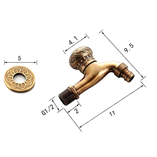 HARPOON Brass Bathroom Sink Faucets Single Cold Water Tap In Wall, Washing Machine Faucets, Antique (Normal-Washer) by HARPOON (Image #3)