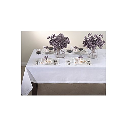 White Handmade, Linen-Cotton Hemstitched Tablecloth 65×140 Oblong