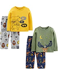 Toddler Boys' 4-Piece Loose Fit Polyester Pajama Set