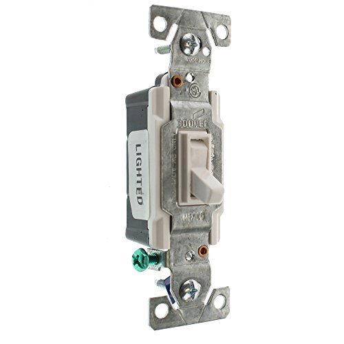 Eaton C1301-7LTW-L 15-Amp, 120-Volt Side and Push Wire Single-Pole Toggle Lighted Switch, White (15 White Single Light)