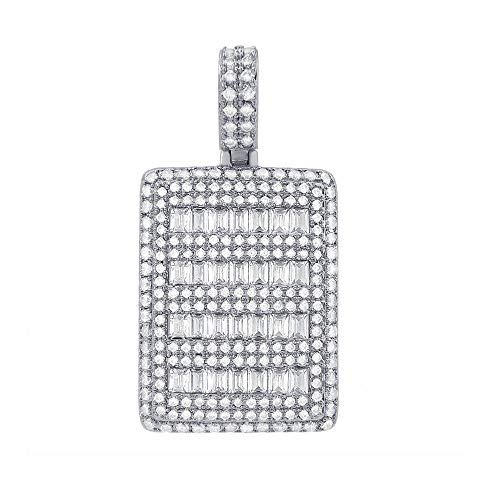 Hip-Hop Bling Micro Pave Baguette Dog Tag CZ Pendant in Rhodium ()