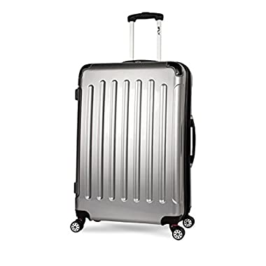 iFLY Carbon Racing Hard Sided Large Checked Luggage, Silver