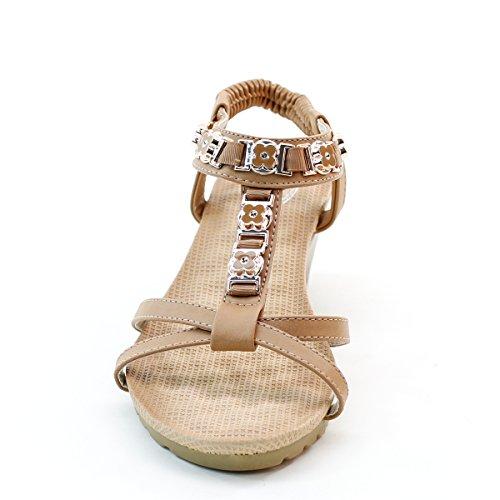 Nuove Donne Brieten Metallico Ornamento Nastro Elastico Basso Zeppa Comfort Sandali Cammello