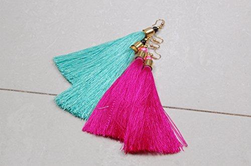 Krishna Handmade INDIAN Vintage Silk Thread TASSEL EARRING - 2 Pairs/Women Thread Earrings for Parties/Bohemian Earrings/Colour : Majenta & Ram Green/[Krish-Tassel-007]