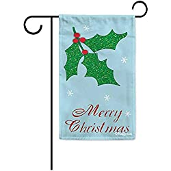 "Kafepross Merry Christmas Holly Decorative Garden Flag Winter Snowflake Decor Banner for Outside 12.5""X18"" Print Both Size"