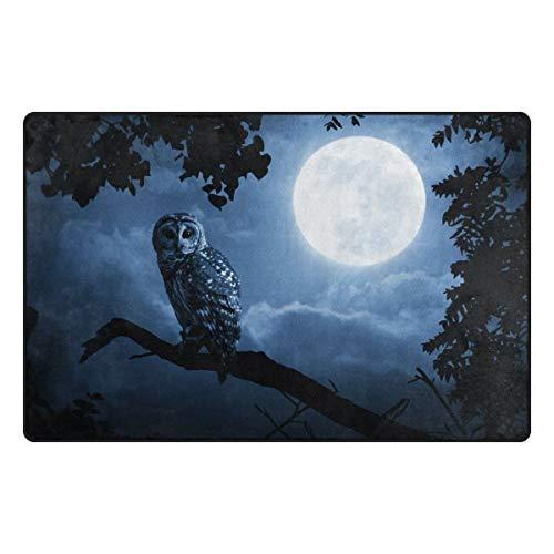 Area Rug Non-Slip Hallloween Night Owl Full Moon Floor Mat Doormats for Living Room Bedroom 31 x 20 inches