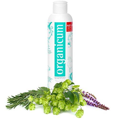 organicum Shampoo - vegane Haarpflege auch gegen anlagebedingten Haarausfall und Schuppen - ohne Glycerin, ohne Silikone & ohne Alkohol (250 ml)