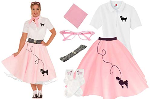 50S Womens 6 Pc Poodle Skirt Outfit Halloween Dance Costume Set -