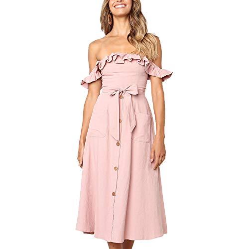 Exlura Women's Ruffle Off Shoulder Tie Waist Midi Sundress Button Down Maxi Dress with Pocket Pink