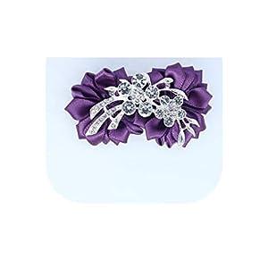 loveinfinite Artificial Diamond Silk Ribbon Flowers Wrist Corsage for Bridesmaid Bracelet Flower Bracelet Hand Mariage Wedding Ceremony Party,Grape Purple 101