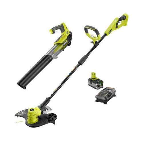 Ryobi ONE+ 18-Volt Lithium-Ion Cordless String Trimmer/Edger and Jet Fan Blower Combo Kit - 4.0 Ah Battery/Charger Included/Tools Included: String Trimmer and Jet Fan Blower