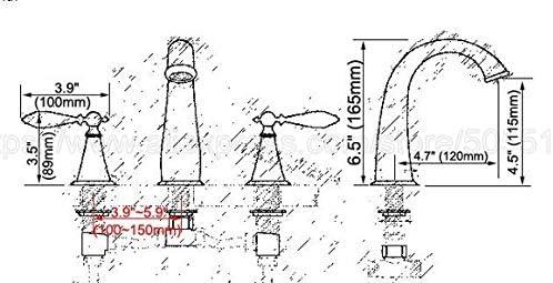 Yadianna 流域の蛇口デッキは真鍮@ 3点セットのバスルームラグジュアリーゴールドブラス二ハンドルシンクミキサータップをマウント