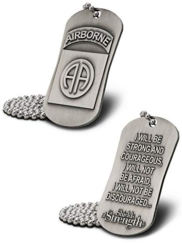 Shields of Strength 82nd Airborne Division Antique Finish Dog Tag Necklace-Joshua 1:9