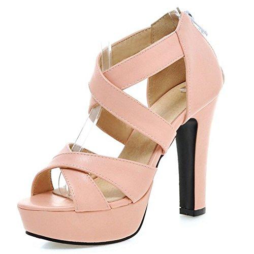 LongFengMa Women's High Block Heel Sandals Fashion Cross Straps Zipper Shoes Pink