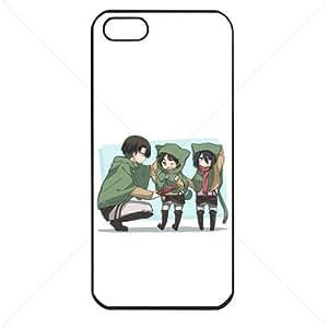 Shingeki no Kyojin Attack on Titan Manga Anime Comic Levi Mikasa Eren Apple iPhone 5 5S Soft Black or White case (Black)