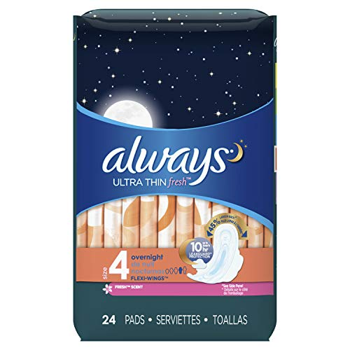 - Always Ultra Thin Feminine Pads with Wings for Women, Size 4, Overnight Absorbency, Unscented, 24 Count - Pack of 6 (144 Count Total)