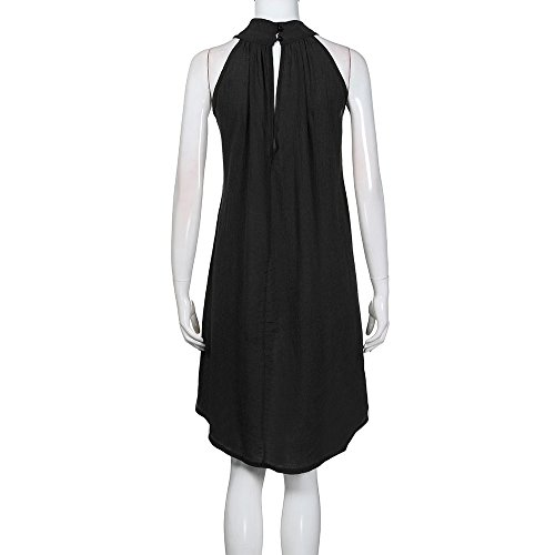 O Irregular Dresses Sleeveless HGWXX7 Holiday Women's Black Neck Solid Linen Hem Party XwAvxBqtHv