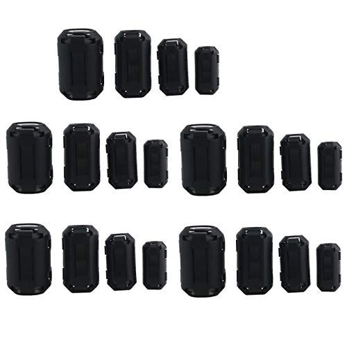 (Ogrmar 20PCS EMI RFI Noise Filter Clip/Noise Suppressor Cable Clip for 5mm/ 7mm/ 9mm/ 13mm Inner Diameter USB/Audio/Video Cable Power Cord (Black))
