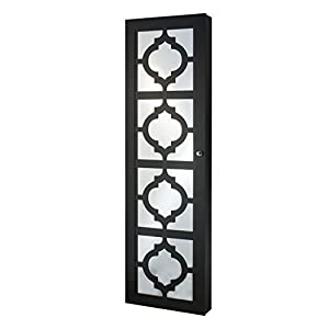 InnerSpace Luxury Products Designer Jewelry Armoire with Decorative Mirror, Black