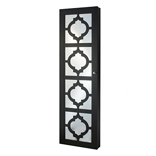 FirsTime & Co. Designer Jewelry Armoire with Decorative Mirror, Black